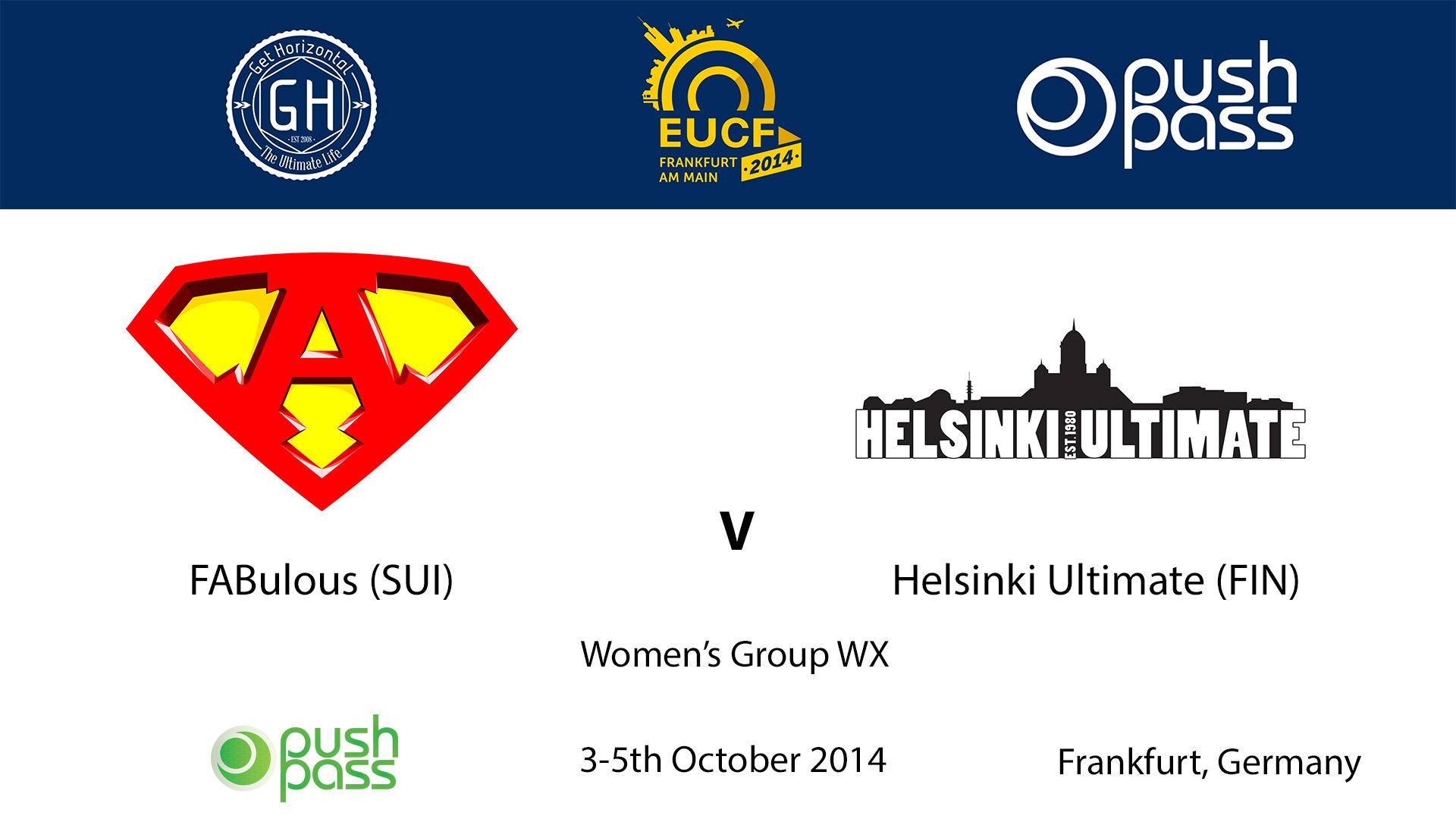 EUCF 2014: WX - FABulous v Helsinki Ultimate